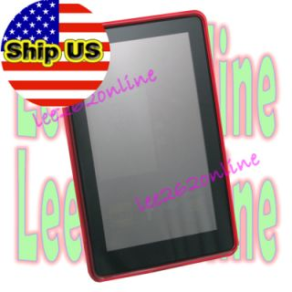Red Gel Skin TPU Case Cover for  Kindle Fire