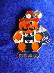 Octoberfest Mascot Beer Kitchener Waterloo Vintage Pin Button Back
