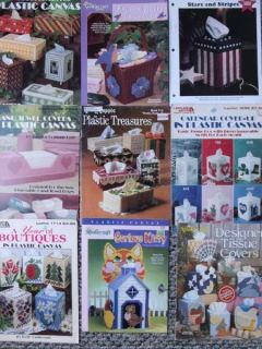 Large Lot 125 Tissue Box Plastic Canvas Patterns Kleenex Box Covers