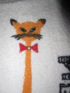 50s Vtg Unused Hippie Cat Rhinestone Hand Towel Retro Kitty
