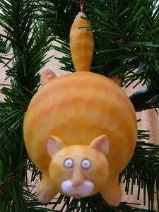New Fat Cat Orange Tiger Kitty Kitten Christmas Tree Ornament