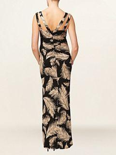 Phase Eight Feather print maxi dress Black
