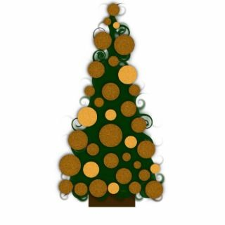 Gold Christmas Tree Ornament Photo Cut Out