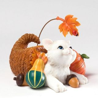 Charming Purrsonalities White Kitty Cat Fall Harvest Thanksgiving