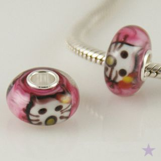Kitty Cat Murano Glass 925 Sterling Silver European Bead Charm