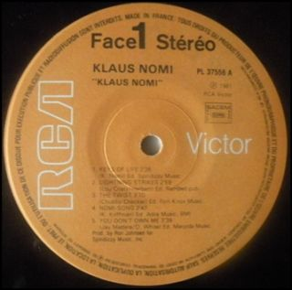 Klaus Nomi Klaus Nomi LP French 1981