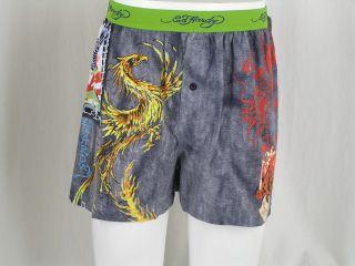 Ed Hardy Stretch Knit Boxer Shorts Tattoo Boar Flight Bird Eagle New w