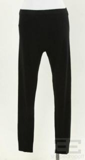 Donna Karan Black Knit Ribbed Trim Leggings Size Large