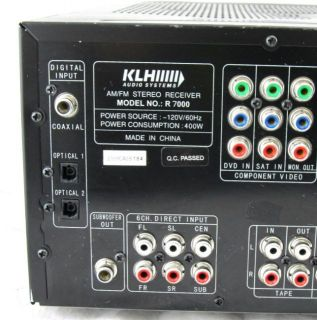 KLH Audio Systems R 7000 6 1 Channel 400 Watt Am FM Stereo Receiver