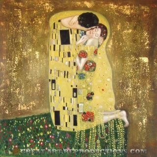 The Kiss Gustav Klimt Art Nouveau Reproduction in Oil 24X24
