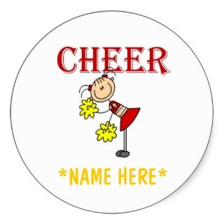 Stick figure cheerleader stickers that you can easily customize with