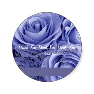 BLUE Roses   Wedding Thank You Envelope Seal Stickers