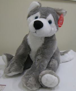 Fiesta Toys Plush 16 Sitting Gray Wolf Brand New