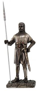 Honour Crusader Medieval Knight with Spear and Shield Statue