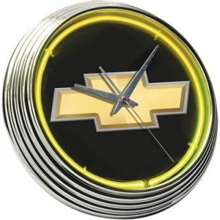 Clock Wall Mounted Yellow Neon Chrome Bezel Gold Chevy Bowtie Emblem