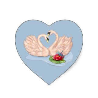 Swan Pair Heart Sticker