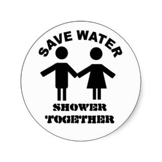 Save water shower together sticker