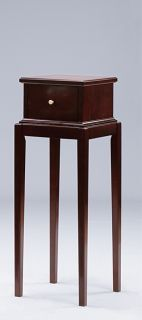 Dark Cherry Transitional 36in One Drawer Plant Stand Side Tables 2