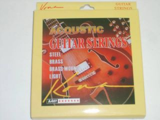 Kona Lot 2 Acoustic Steel Guitar Strings Light Gauges 12 16 24 32 42
