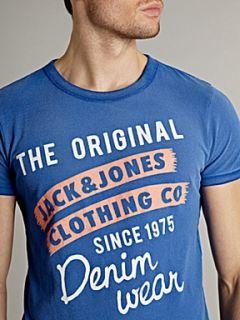 Jack & Jones Short sleeved graphic logo T shirt Blue