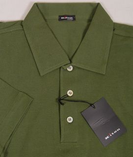 KITON Polo Shirt $525 Dark Green 3 BTN Logo Handmade Polo Shirt Large