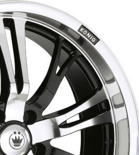 Konig Unknown 18x7 5 8x100 114 3 ET45 Black Wheels Fit Prelude Accord