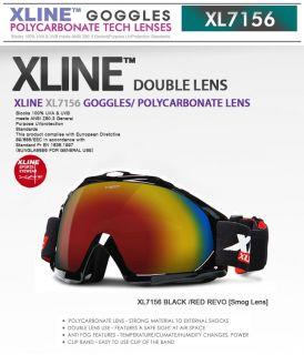 Xline XL7156 Black Red Revo★smog Dual Lens★ Ski Snowboard Goggles