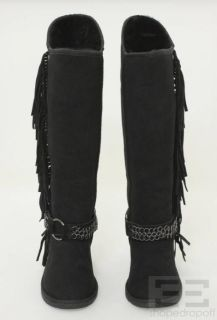 Koolaburra Audrey Tall Black Suede Fringe Shearling Boots Size 8 New