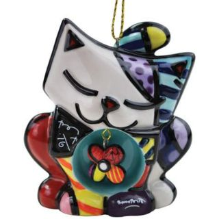 Romero Britto Kitty Cat with Flower Pendant Ceramic Christmas Ornament