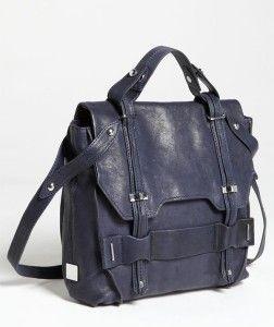 448 Kooba Jane Leather Crossbody Satchel Bag Navy Current Style New
