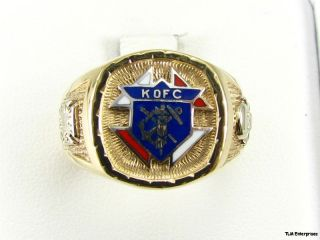 Knights of Columbus K of C Ring   10k Yellow & White Gold 10.6g Band