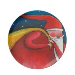 santa claus christmas plate