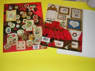 Vintage 80s Counted Cross Stitch Embroidery Leaflets Christmas