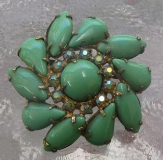 Vintage Kramer of New York Green Rhinestone Brooch Pin Pendant