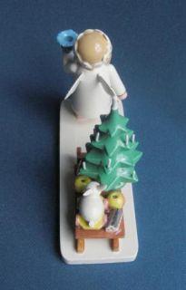 Wendt Kuhn Marguerite Wood Angel Sleigh Candle Holder Erzgebirge