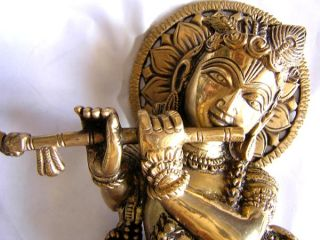 Impressive 1950s Lord Krishna Krsna Antiquated Brass Hindu Statue