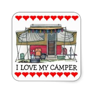 Cute RV Vintage Popup Camper Travel Trailer Stickers