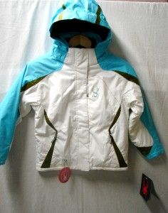 Spyder Kyds Girls Mynx Snow Ski Jacket White Aqua Turf Size 14 New