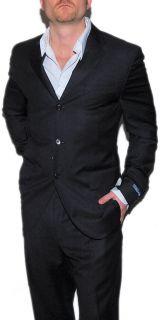 Polo Ralph Lauren Mens Italy Suit Black White Pinstripe Rayon Virgin