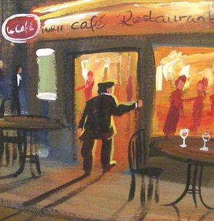 Pete Rumney Art Midnight in Paris Eiffel Tower Original Signed