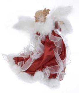 Red Cameo Angel Christmas Ornament
