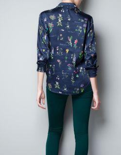 Zara Gold Tipped Collar Floral Blouse Shirt Size L