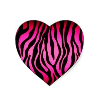 Pink Zebra Heart Stickers