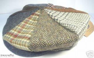 Irish Tweed Wool Patch Beret Cap Hat Sz s M L XL XXL