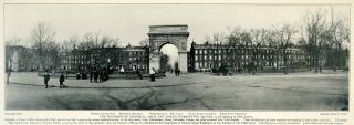 1903 Print Washington Memorial Arch Square Park Historical Scene