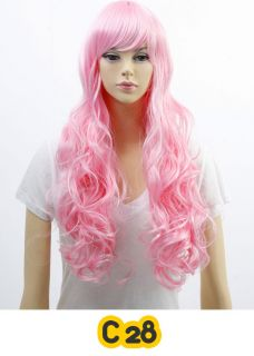 Cosplay Wig Hair Costume Long Pink Skyblue Violet Green Blue Yellow