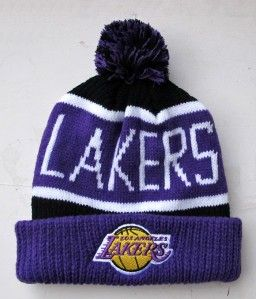 Los Angeles Lakers Team Colors Large Size Knit Beanie Cap Hat by 47