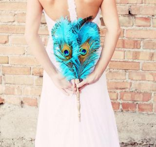 Lacey Peacock and Ostrich Bridal Feather Wedding Fan Bouquet