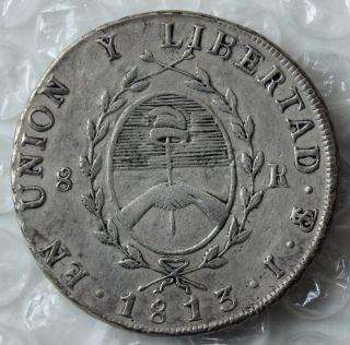 1813 Argentina 8 Reales XF KM 5 Provincias Del Rio de La Plata