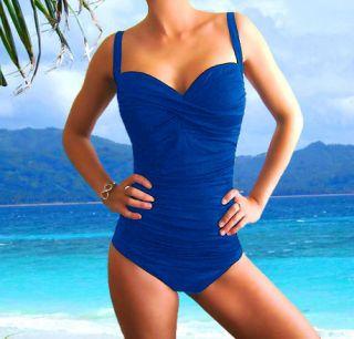 Royal Blue Over Shoulder Tankini Swimsuit Swimwear Bathing Suit Two